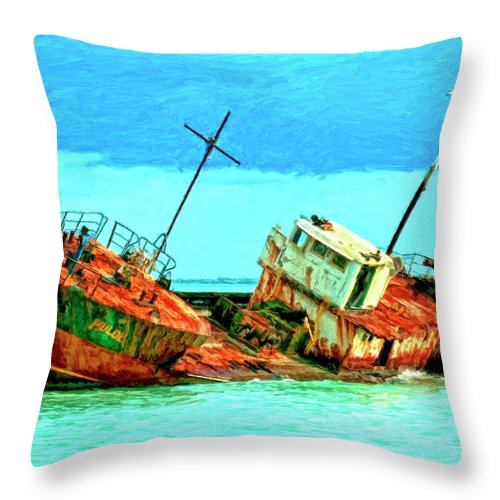 Aground Off Jamaica Throw Pillow featuring the painting Aground Off Jamaica by Dominic Piperata