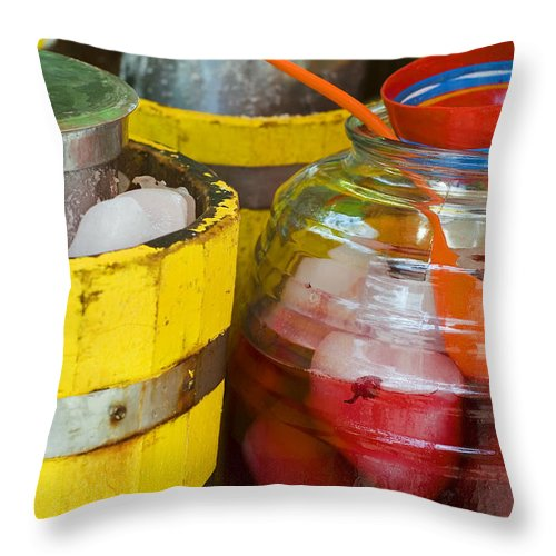 Beverage Throw Pillow featuring the photograph Agua De Hamaica by Skip Hunt