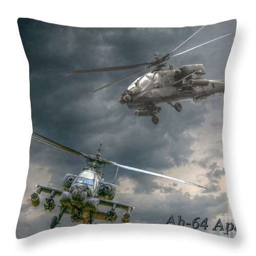 Apache Throw Pillow featuring the digital art Ah-64 Apache Attack Helicopter In Flight by Randy Steele