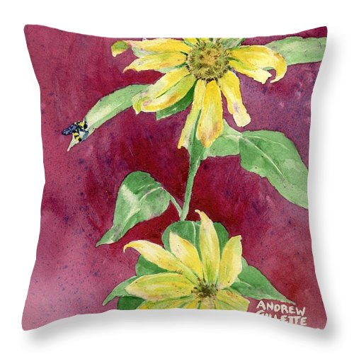 Sunflower Throw Pillow featuring the painting Ah Sunflowers by Andrew Gillette