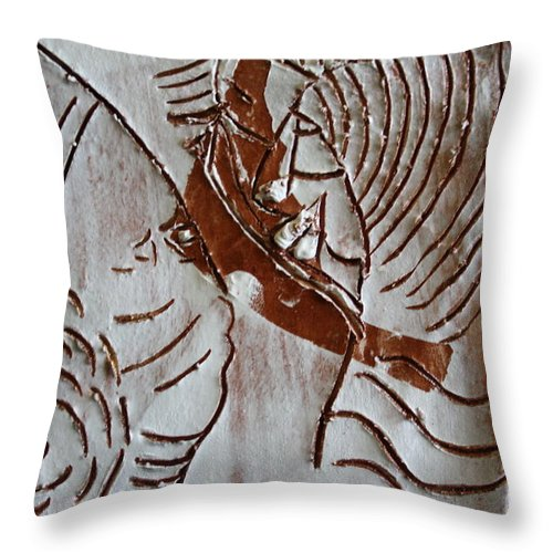 Jesus Throw Pillow featuring the ceramic art Ahead - Tile by Gloria Ssali