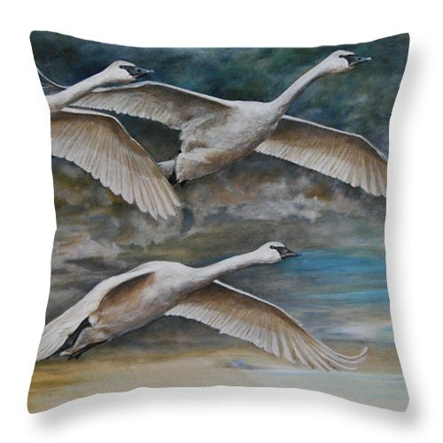 Trumpeter Swans Throw Pillow featuring the painting Ahead Of The Storm - Trumpeter Swans On The Move by Dreyer Wildlife Print Collections