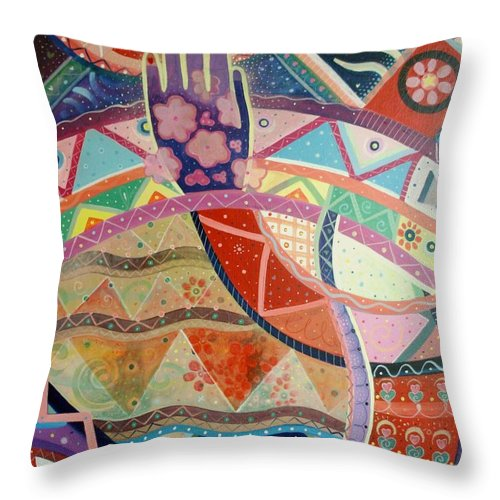 Hand Throw Pillow featuring the painting Aim High by Helena Tiainen