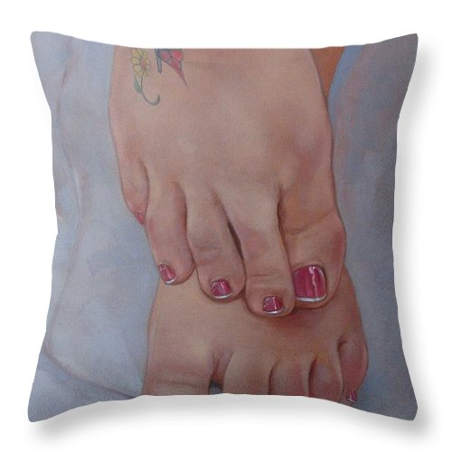 Pretty Feet Throw Pillow featuring the painting Aimee by Jerrold Carton