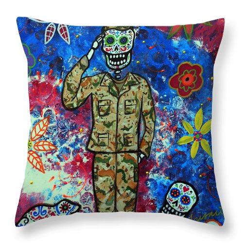 Air Throw Pillow featuring the painting Air Force Day Of The Dead by Pristine Cartera Turkus
