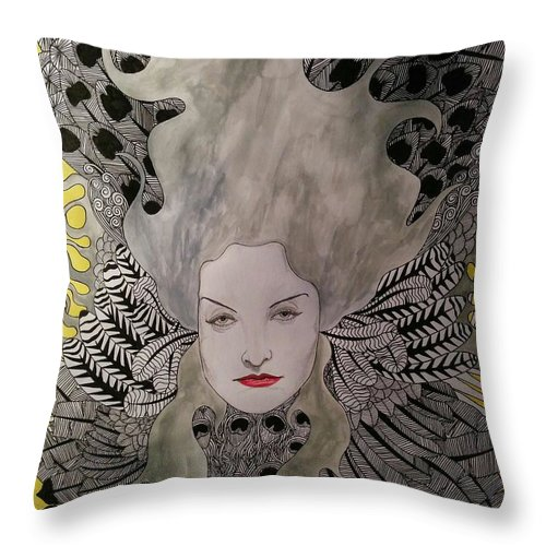 Throw Pillow featuring the mixed media Air by Rafael Colon