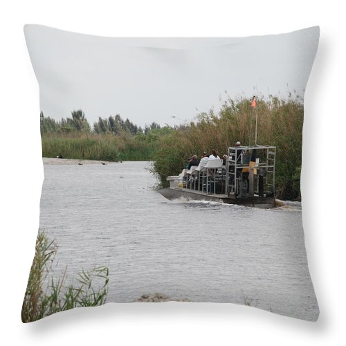 Everglades Throw Pillow featuring the photograph Airboat Rides 25 Cents by Rob Hans