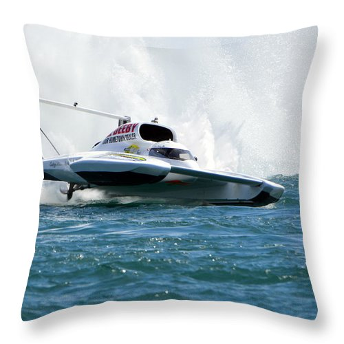Hydroplane Throw Pillow featuring the photograph Airborne by Mark Madion