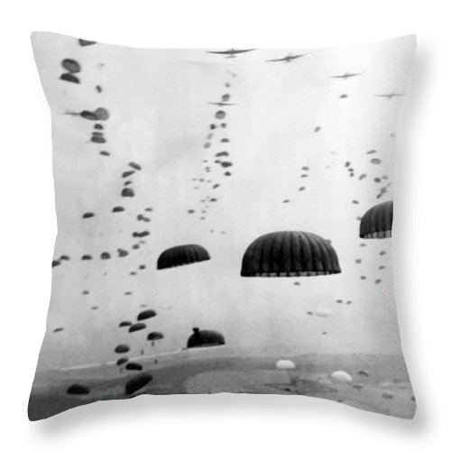 Airborne Throw Pillow featuring the photograph Airborne Mission During WW2 by War Is Hell Store