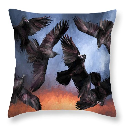 Fine Art Throw Pillow featuring the painting Airborne Unkindness by David Wagner