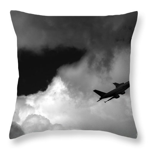 Airbus Throw Pillow featuring the photograph Airbus A-380 by Angel Ciesniarska