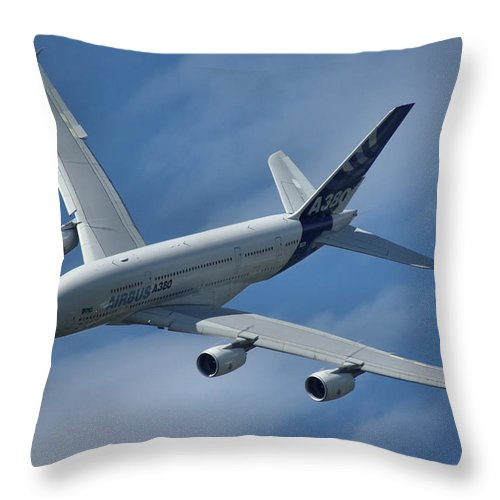Airbus Throw Pillow featuring the photograph Airbus A380 by Tim Beach