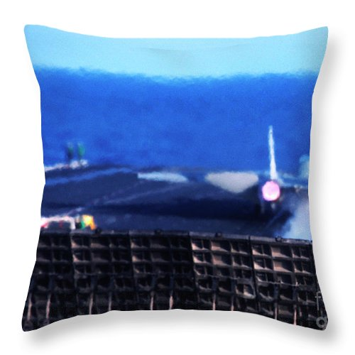 Us Navy Throw Pillow featuring the photograph Aircraft Carrier F-14 Launch by Thomas R Fletcher
