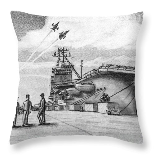 Navy Throw Pillow featuring the drawing Aircraft Carrier by Vic Delnore