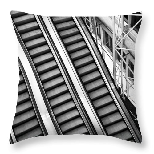 Escalator Throw Pillow featuring the photograph Airport Architecture Escalator Movement by ELITE IMAGE photography By Chad McDermott