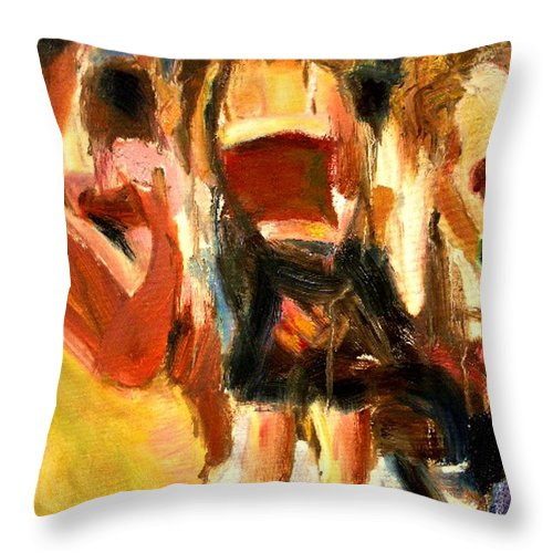 Dornberg Throw Pillow featuring the painting Airport Ticket Line by Bob Dornberg