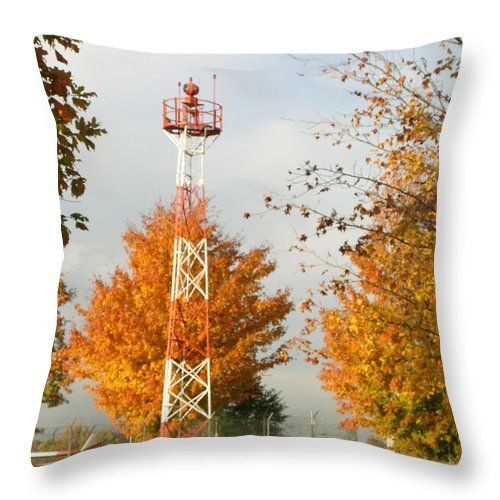 Airport Throw Pillow featuring the photograph Airport Tower by Douglas Barnett