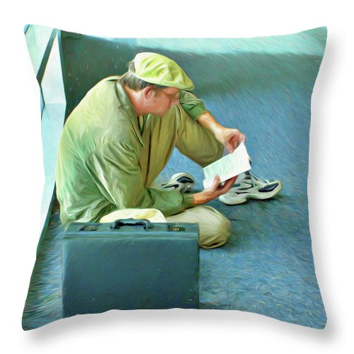 Airport Wait Throw Pillow featuring the photograph Airport Wait by Nikolyn McDonald