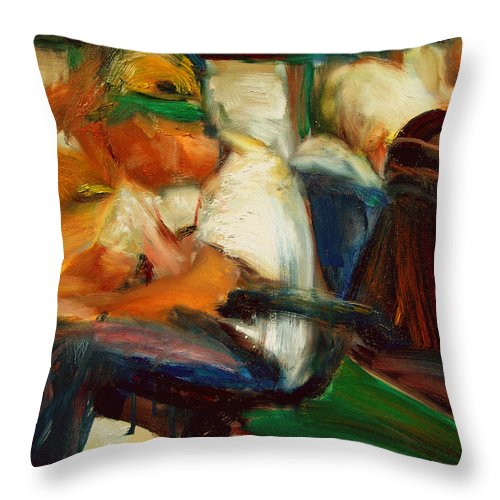 Dornberg Throw Pillow featuring the painting Airport Waiting Area by Bob Dornberg