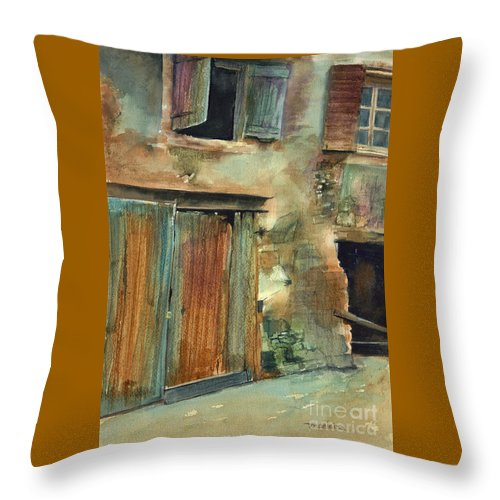 Landscape Canvas Print Throw Pillow featuring the painting Aix-en-provence by Madeleine Holzberg