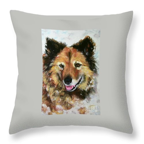 Dog Throw Pillow featuring the painting Akia by Frances Marino