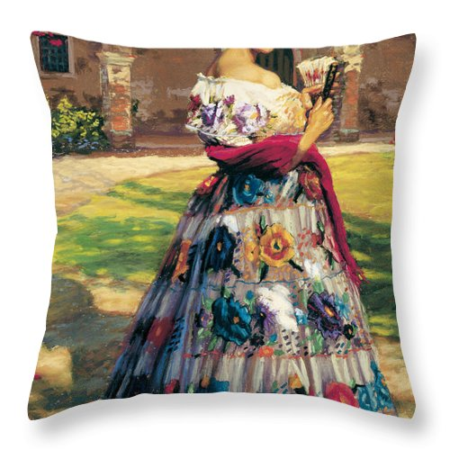 Woman Elaborately Embroidered Mexican Dress. Background Mission San Juan Capistrano. Throw Pillow featuring the painting Al Aire Libre by Jean Hildebrant
