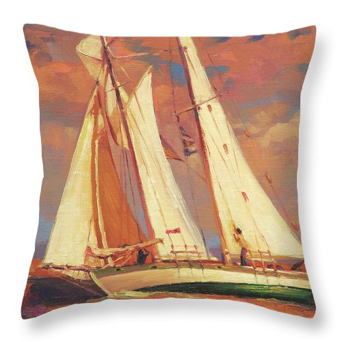 Sailboat Throw Pillow featuring the painting Al Fresco by Steve Henderson