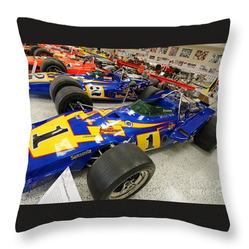 Al Unser Throw Pillow featuring the photograph Al Unser Winning Cars At Indianapolis by Steve Gass