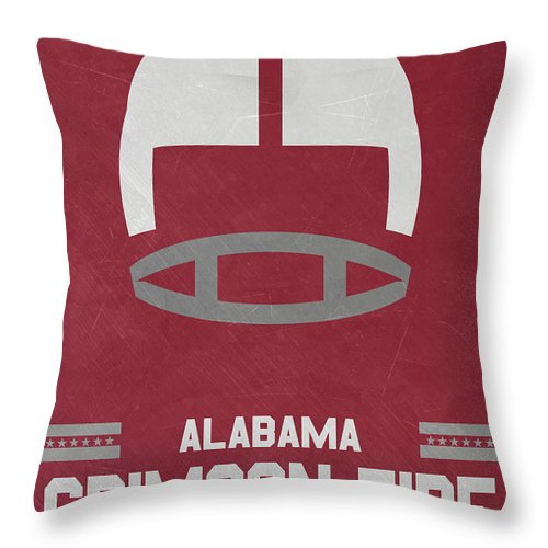 Alabama Throw Pillow featuring the mixed media Alabama Crimson Tide Vintage Football Art by Joe Hamilton