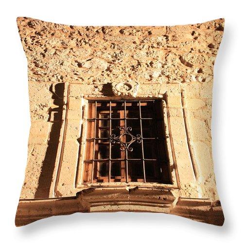 Alamo Throw Pillow featuring the photograph Alamo Night Window by Carol Groenen