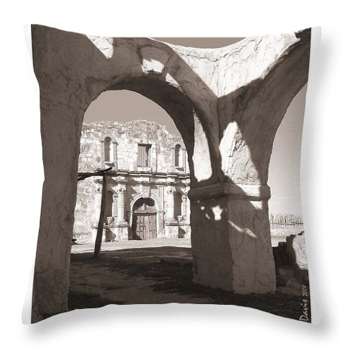 Alamo Throw Pillow featuring the photograph Alamo Through Time by Mona Davis