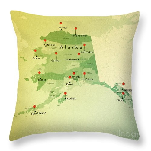 Cartography Throw Pillow featuring the photograph Alaska Map Square Cities Straight Pin Vintage by Frank Ramspott