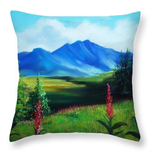 Alaska Throw Pillow featuring the pastel Alaska by Melinda Etzold