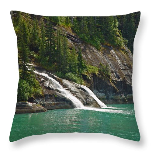 Waterfall Throw Pillow featuring the photograph Alaska Tracy Arm by Heather Coen