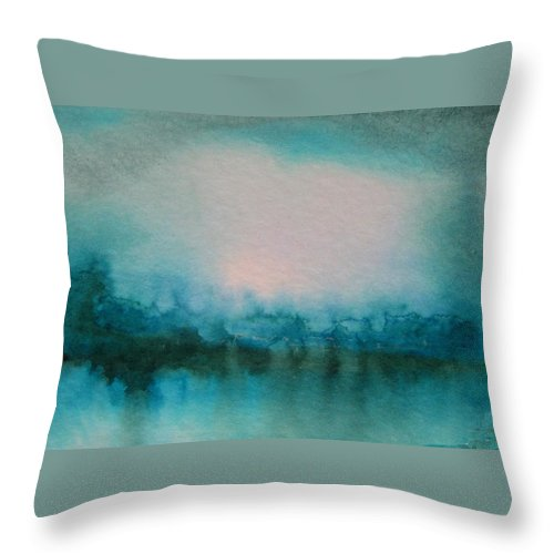 Water Throw Pillow featuring the painting Alaskan Lake by Melody Horton Karandjeff