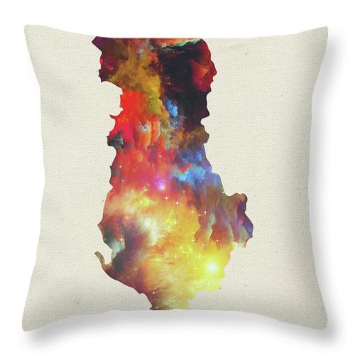 Albania Throw Pillow featuring the mixed media Albania Watercolor Map by Design Turnpike