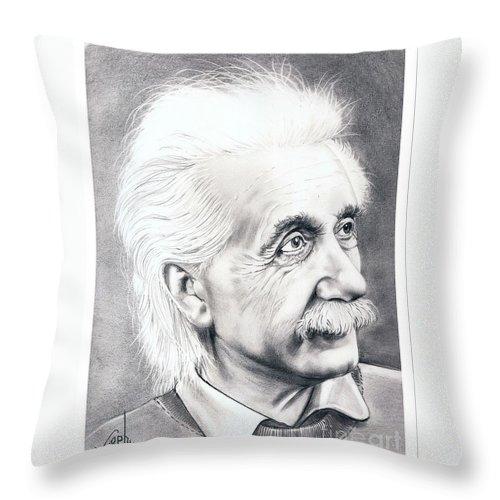 Portrait Throw Pillow featuring the drawing Albert Einstein by Murphy Elliott
