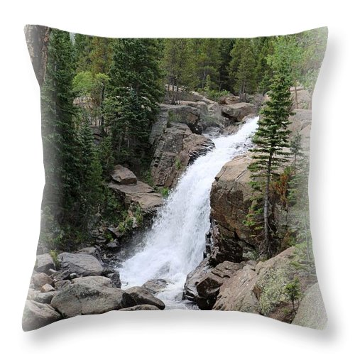 Alberta Falls Throw Pillow featuring the photograph Alberta Falls 02 by Pamela Critchlow