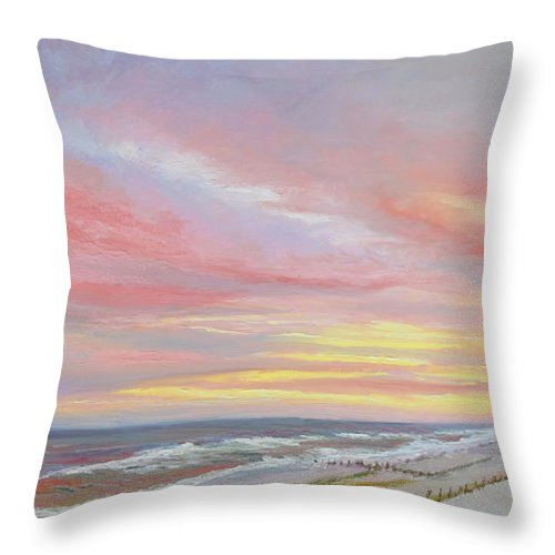 Seascape Throw Pillow featuring the painting Alberta's Sunset by Lea Novak