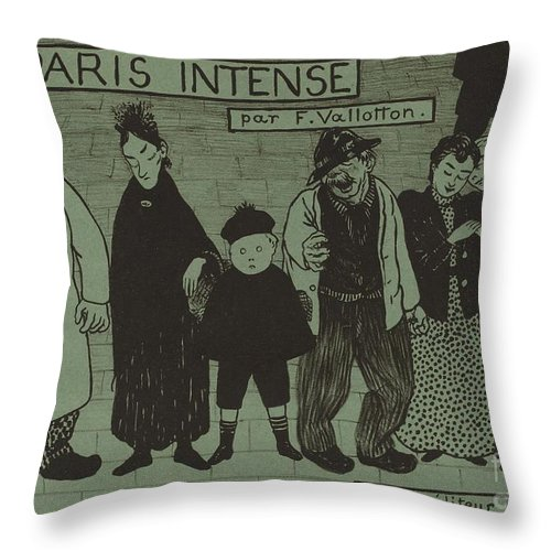 "Throw Pillow featuring the drawing Album Cover For ""paris Intense"" by F?lix Vallotton"