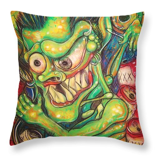 Beer Throw Pillow featuring the painting Alcoholic Demon by Americo Salazar