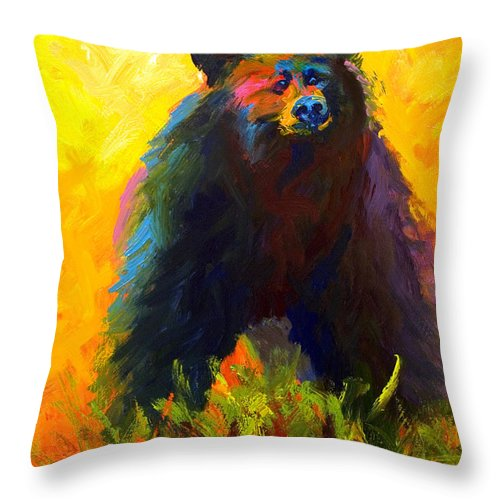 Western Throw Pillow featuring the painting Alert - Black Bear by Marion Rose