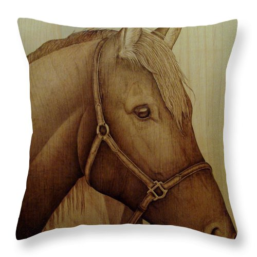 Pyrography; Woodburning; Sepia; Horse; Equestrian; Throw Pillow featuring the pyrography Alert by Jo Schwartz