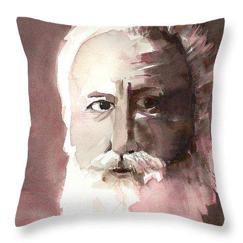Alexander Graham Bell Throw Pillow featuring the painting Alexander Graham Bell by Arline Wagner