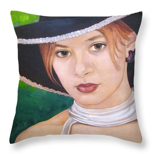 Pretty Girl Throw Pillow featuring the painting Alexis by Jerrold Carton