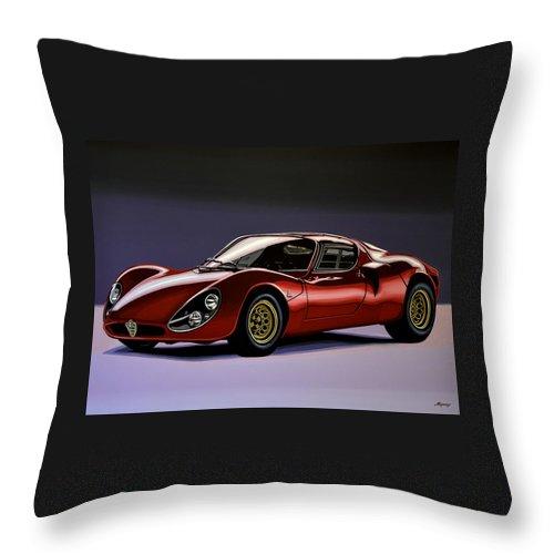 Alfa Romeo 33 Stradale Throw Pillow featuring the painting Alfa Romeo 33 Stradale 1967 Painting by Paul Meijering