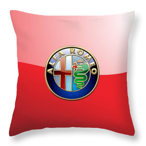 Wheels Of Fortune By Serge Averbukh Throw Pillow featuring the photograph Alfa Romeo - 3d Badge on Red by Serge Averbukh