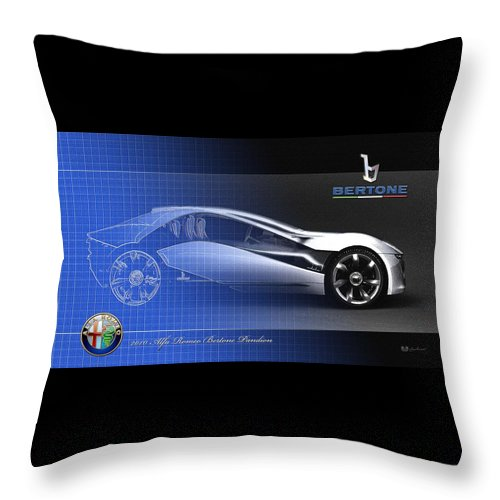 Wheels Of Fortune By Serge Averbukh Throw Pillow featuring the photograph Alfa Romeo Bertone Pandion Concept by Serge Averbukh