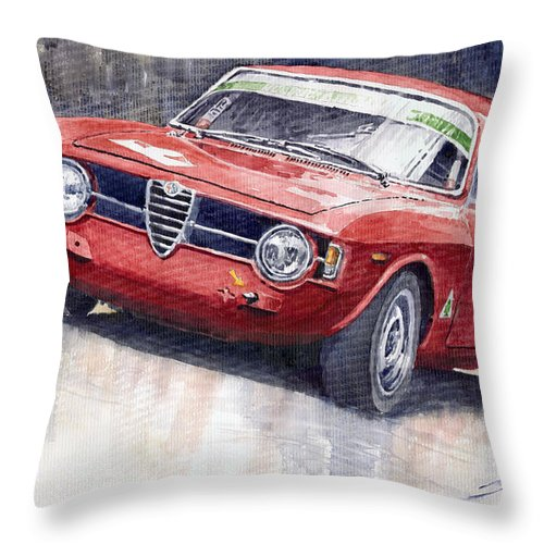 Watercolor Throw Pillow featuring the painting Alfa Romeo Giulie Sprint Gt 1966 by Yuriy Shevchuk