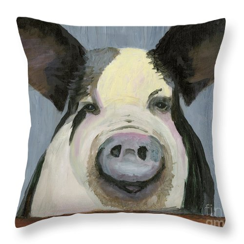 Pig Throw Pillow featuring the painting Alfred The Boar by Gloria Condon